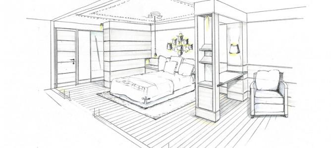 Skizze zur Neugestaltung eines Schlafzimmers in einer Altbauwohnung in München