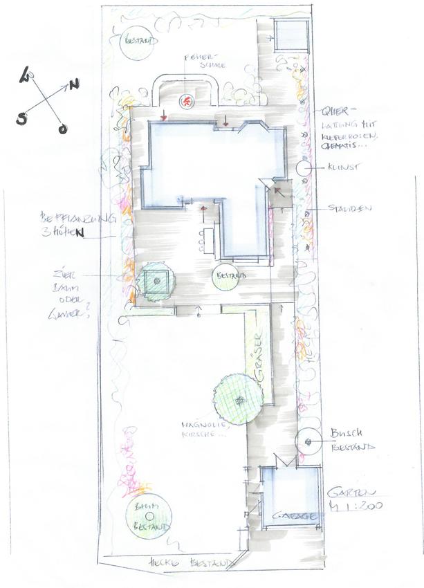 Skizze Neugestaltung Garten Innenarchitekt